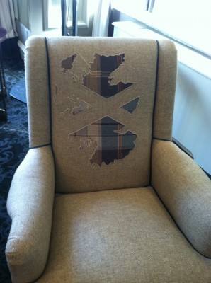 scottish fabrics chair by gideon mendelson