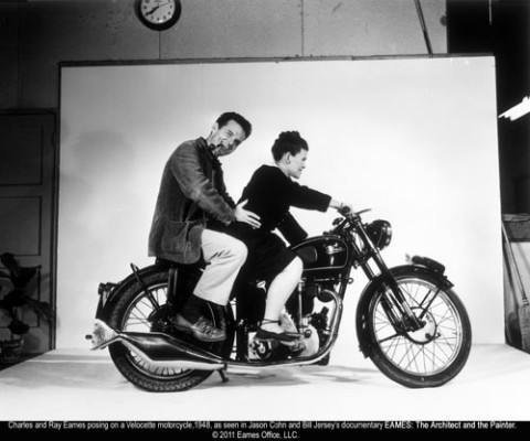 eames the architect and the painter posing for motorcycle photo