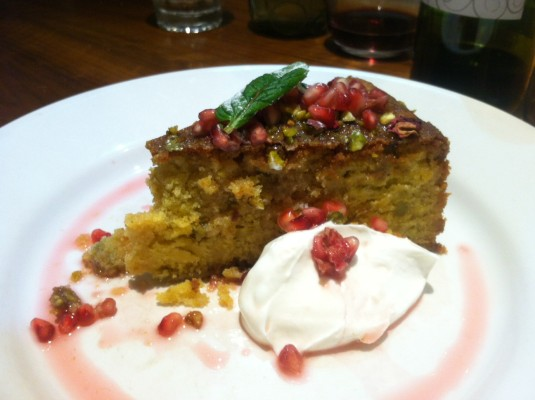 Persian lemon, almond and pistachio polenta cake at Mildreds