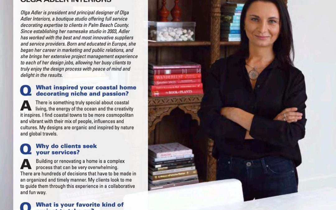Olga – Featured Interior Design Expert in Boca Magazine